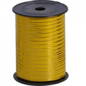 Лента однотонная 0,5см (250) желтая с золотой полосой