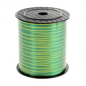 Лента однотонная 0,5см (250) зеленая с золотой полосой
