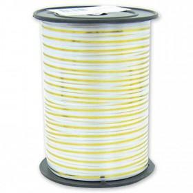 Лента однотонная 0,5см (250) белая с золотой полосой