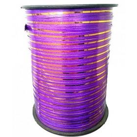 Лента однотонная 0,5см (250) фиолетовая с золотой полосой