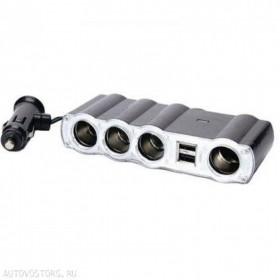 Разветвитель в авто на 4 устройства c 2USB со шнуром (ELTRONIC) WF-4008
