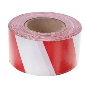 Лента упак. 50мм х 90м бело-красная (для ограждений)