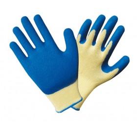 Перчатки Люкс х/б со вспененным  латексом Торро синие
