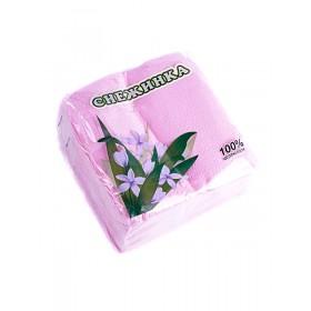 Салфетка 100шт Снежинка/розовая