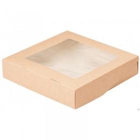 Коробка 200х200х45мм Eco tabox pro 1500gl, с окном коричн.