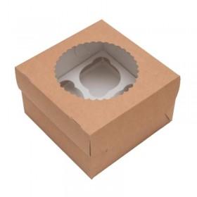 Коробка 160х160х100мм Eco MUF4, коричн/белый с окном