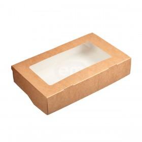 Коробка 200х120х40мм Eco tabox pro 1000gl с окном коричн.