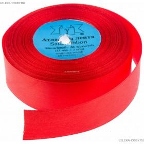 Лента текстильная Атлас 2,5см (25) красная