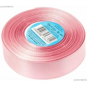 Лента текстильная Атлас 2,5см (25) розовая