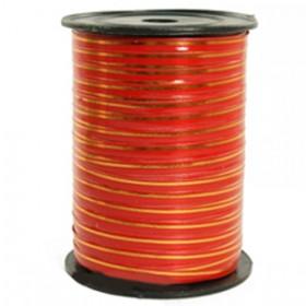 Лента однотонная 0,5см (250) красная с золотой полосой
