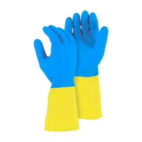 Перчатки латексные  хозяйственные Bicolor L
