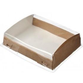 Коробка 185х140х55мм Eco OpBox 1000, коричн. с прозрачной крышкой
