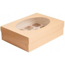 Коробка 250х250х100мм Eco MUF9, коричн/белый с окном