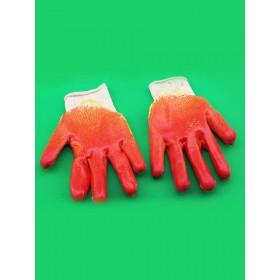 Перчатки с 2-ым латексным покрытием красные