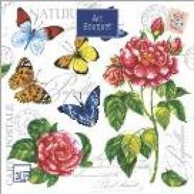 Салфетка 20шт 33 х 33см. 3сл. Бабочки и розы