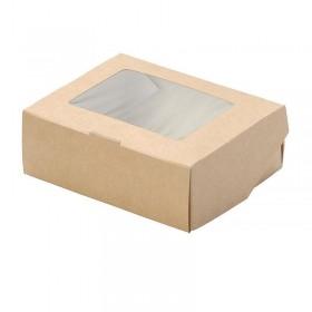 Коробка 100х80х35мм Eco tabox 300gl с окном коричн.