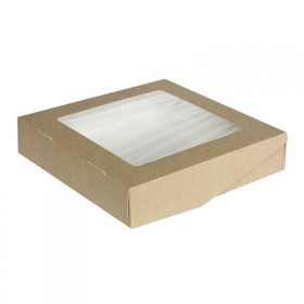 Коробка 200х200х40мм Eco tabox 1500gl с окном коричн.