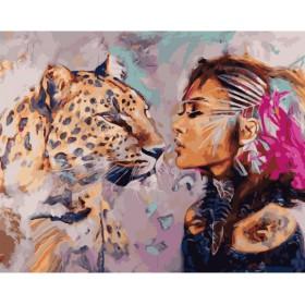 Картины по номерам в ассортименте (формат 50х40) Девушка и леопард ZX23204
