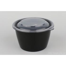 Контейнер д/горячего черн. 500мл К-144-500 + крышка прозр.d144мм h59мм