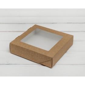 Коробка 200х200х55мм Eco tabox pro 1555gl с окном коричн.