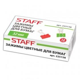 Зажимы для бумаг 32мм 12шт. Staff цветные арт.225158